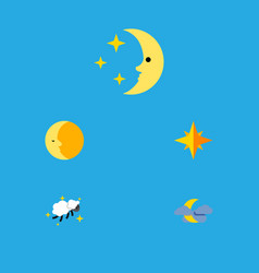 Flat icon night set of asterisk lunar night and vector