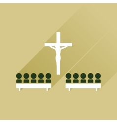 Flat icon with long shadow People in church vector image