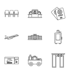 Flights icons set outline style vector image
