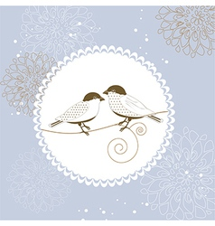 Floral greeting card with bird vector