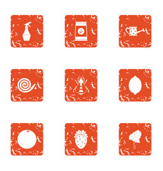 Garden parasite icons set grunge style vector
