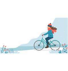 Girl riding bike in park in winter cute vector