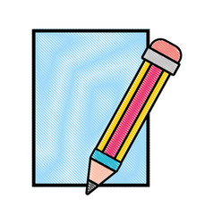 Grated cardboard object with pencil utensil design vector