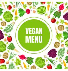 green circle with inscription vegan menu vector image