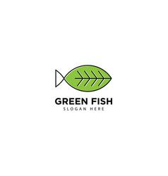 Green fish logo design icon vector