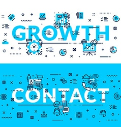 Growth and Contact heading title web banner vector