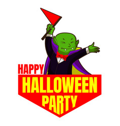 happy halloween party logo cartoon style vector image