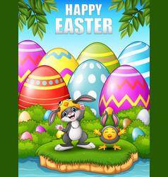 Happy rabbit and chicken cartoon wearing costumes vector
