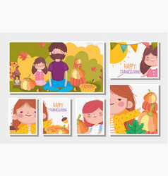 happy thanksgiving family collection cards dad vector image