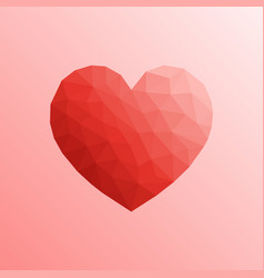 heart in lowpoly style on bright background vector image