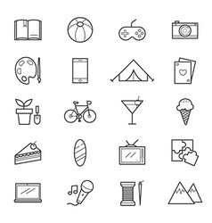Hobbies and Activities Icons Line vector image