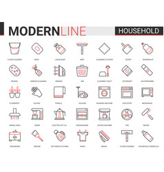Household tools flat thin red black line icons vector