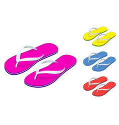 Isometric slippers set of female with multicolored vector