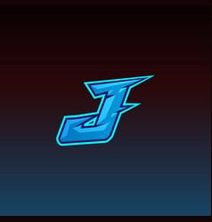 j logo esport gaming initial design template vector image