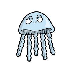 jellyfish on white background cute marine animal vector image