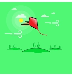 Kites and Clouds outline art vector
