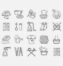 laundry hand drawn sketch icon set vector image