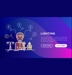 lighting concept man starting to use light bulb vector image
