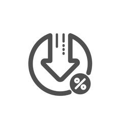 Loan percent decrease icon discount sign vector
