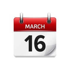 March 16 flat daily calendar icon Date vector