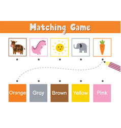 Match animals and elements color educational vector