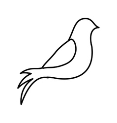 Monochrome contour with dove resting vector