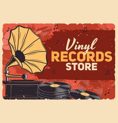 music store gramophone vinyl records vector image