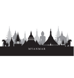 Myanmar landmarks skyline in black and white vector