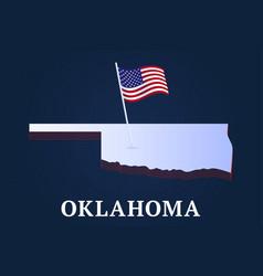 oklahoma state isometric map and usa national vector image