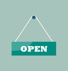 open sign hanging plate vector image