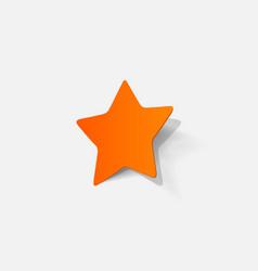 Paper clipped sticker pentagonal star vector