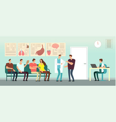 Patients and doctor in hospital waiting room vector