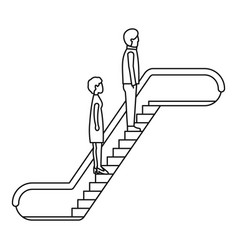 people escalator icon outline style vector image
