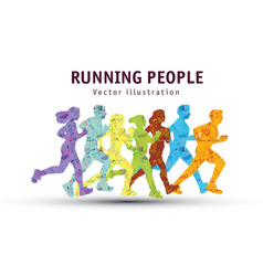 People run sport marathon color silhouette vector