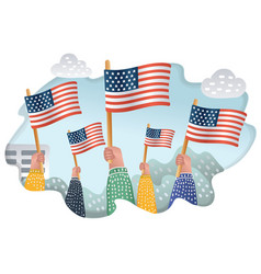 people waving american national flags outdoors vector image