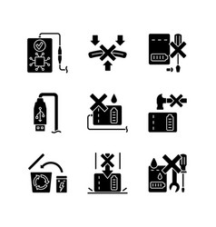 Power bank instruction black glyph manual label vector