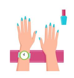 pretty blue manicure banner vector image