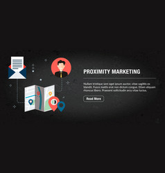 Proximity marketing banner internet with icons in vector