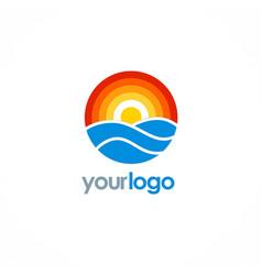 Round ocean sun logo vector