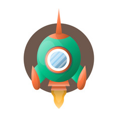 round space rocket with sharp end flies up vector image