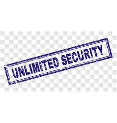 Scratched unlimited security rectangle stamp vector