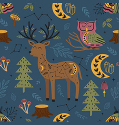 Seamless pattern magic forest with deer moth vector