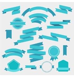 Set blue empty retro ribbons vector