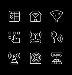 set line icons wi-fi vector image