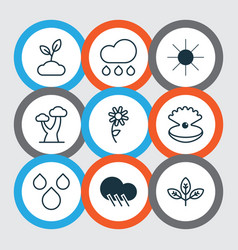 Set of 9 harmony icons includes sprout plant vector