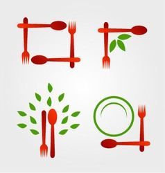 Set of logos for organic cuisine vector image