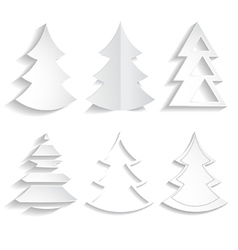 set of paper trees vector image