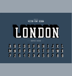 shadow font and alphabet typeface and number vector image