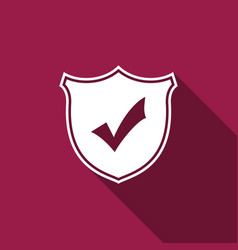 Shield with check mark isolated with long shadow vector