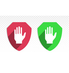 Shield with hand block or adblock - flat icon vector